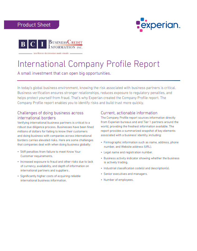 International-Company-Profile-Report