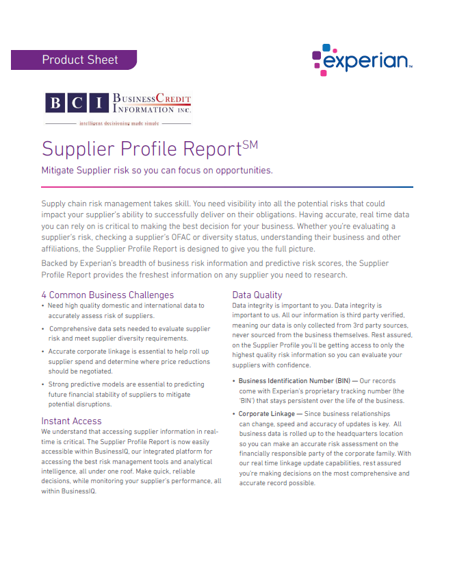 Supplier Profile Report